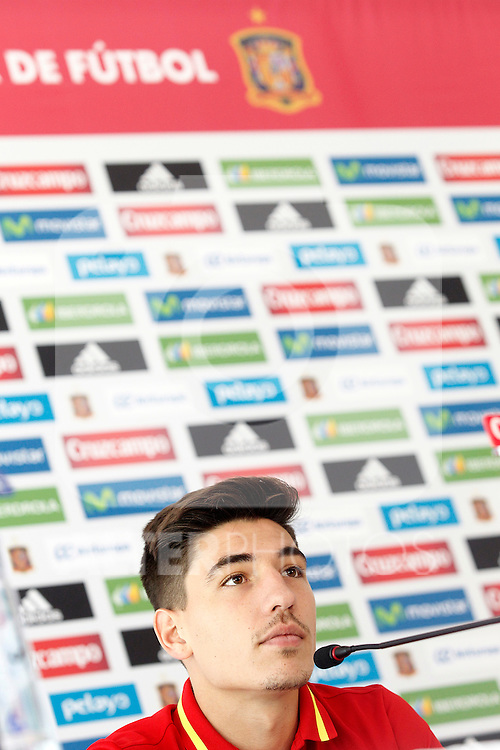 Spain's Hector Bellerin in press conference during preparing training stage to Euro 2016. May 30,2016.(ALTERPHOTOS/Acero)