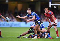 25th September 2021; The Recreation Ground, Bath, Somerset, England; Gallagher Premiership Rugby, Bath versus Newcastle Falcons; Max Green of Bath passes
