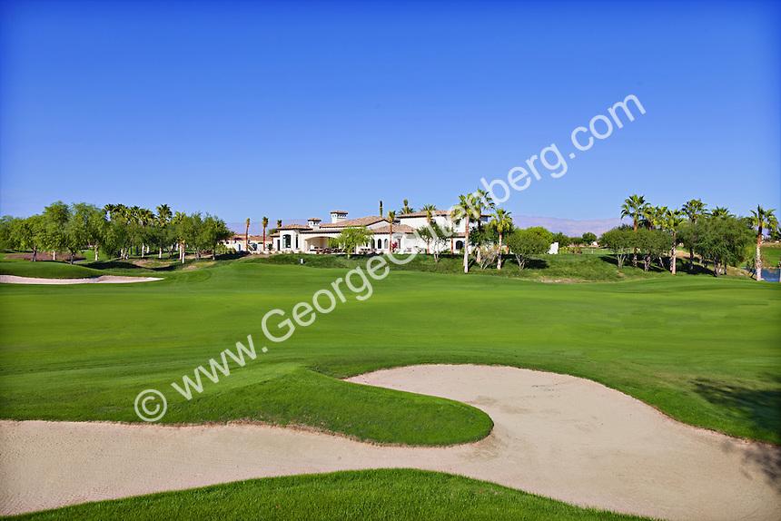 Sand traps on golf course in La Quinta