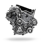 2017 Buick Lacrosse 3.6L V6 VVT DI 310HP car engine isolated with clipping path on white background Image © MaximImages, License at https://www.maximimages.com