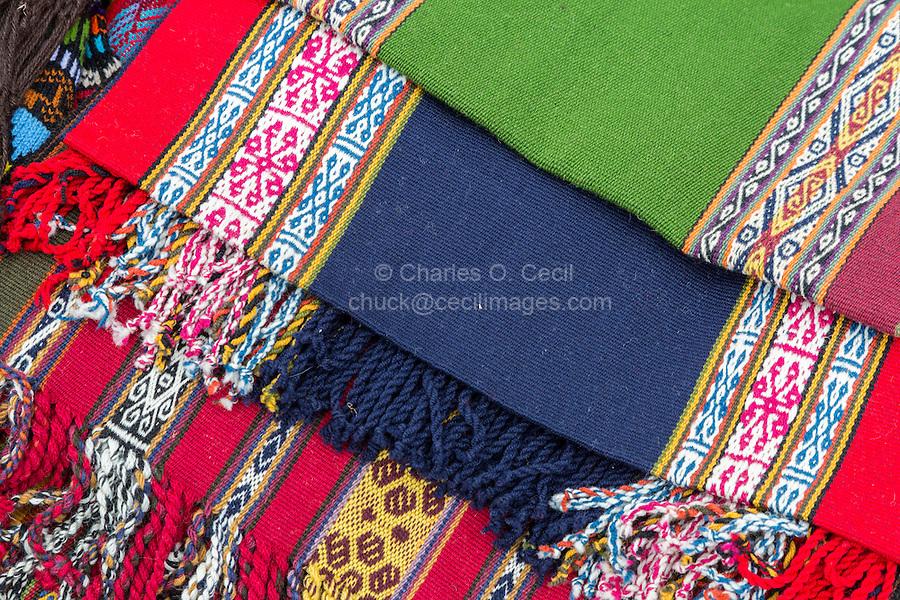 Peru, Urubamba Valley, Quechua Village of Misminay.  Fabric Woven by Village Women.