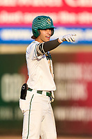 Tulane Green Wave Collin Burns (2) points to his dugout during a game against the Houston Cougars on May 25, 2021 at BayCare Ballpark in Clearwater, Florida.  (Mike Janes/Four Seam Images)