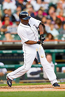 Torii Hunter (48) of the Detroit Tigers breaks his bat as he makes contact with the baseball against the Tampa Bay Rays at Comerica Park on June 4, 2013 in Detroit, Michigan.  The Tigers defeated the Rays 10-1.  Brian Westerholt/Four Seam Images
