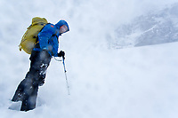 Kenton Cool aproaches Ben Nevis North Face in a bad weather conditions.