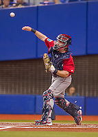 2 April 2016: Boston Red Sox catcher Ryan Hanigan in action during a pre-season exhibition game against the Toronto Blue Jays at Olympic Stadium in Montreal, Quebec, Canada. The Red Sox defeated the Blue Jays 7-4 in the second of two MLB weekend games, which saw a two-game series attendance of 106,102 at the former home on the Montreal Expos. Mandatory Credit: Ed Wolfstein Photo *** RAW (NEF) Image File Available ***