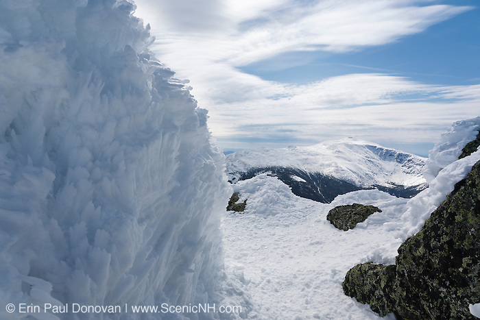 The summit of Mount Adams in the White Mountains, New Hampshire USA during the winter months. Mount Washington is in the background.