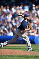 Milwaukee Brewers pitcher Zach Duke (59) delivers a pitch during a game against the Chicago Cubs on August 14, 2014 at Wrigley Field in Chicago, Illinois.  Milwaukee defeated Chicago 6-2.  (Mike Janes/Four Seam Images)