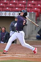 Cedar Rapids Kernels left fielder Jacob Pearson (2) swings at a pitch against the Burlington Bees at Veterans Memorial Stadium on April 14, 2019 in Cedar Rapids, Iowa.  The Bees won 6-2.  (Dennis Hubbard/Four Seam Images)
