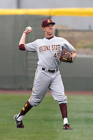 Robert Ravago #45 of the Arizona State Sun Devils before a game against the UCLA Bruins at Jackie Robinson Stadium on March 16, 2012 in Los Angeles,California. UCLA defeated Arizona State 6-5.(Larry Goren/Four Seam Images)