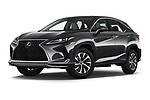 Stock pictures of low aggressive front three quarter view of 2021 Lexus RX 350 5 Door SUV Low Aggressive