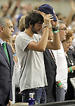 Spain's player injured Ricky Rubio encourages his colleagues during friendly match Spain v USA.July 24,2012. (ALTERPHOTOS/Acero)
