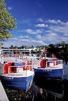 canal barge, Seneca Falls, Finger Lakes, New York, NY, Cruise line boats along the Cayuga-Seneca Canal.