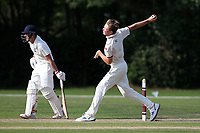 Ben Allison in bowling action for Brentwood during Brentwood CC vs Wanstead and Snaresbrook CC, Essex Cricket League Cricket at The Old County Ground on 12th September 2020