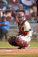 Boston College Eagles catcher Nick Sciortino (7) looks to the dugout during a game against the Central Michigan Chippewas on March 8, 2016 at North Charlotte Regional Park in Port Charlotte, Florida.  Boston College defeated Central Michigan 9-3.  (Mike Janes/Four Seam Images)