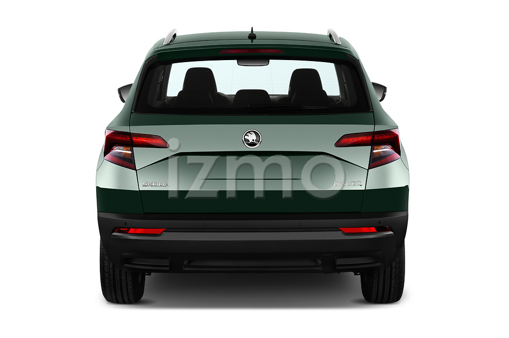 Straight rear view of a 2018 Skoda Karoq Ambition 5 Door SUV stock images