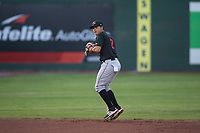 Great Falls Voyagers shortstop Lenyn Sosa (2) prepares to make a throw to first base during a Pioneer League game against the Idaho Falls Chukars at Melaleuca Field on August 18, 2018 in Idaho Falls, Idaho. The Idaho Falls Chukars defeated the Great Falls Voyagers by a score of 6-5. (Zachary Lucy/Four Seam Images)