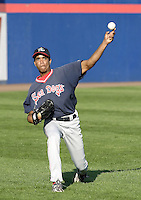 September 2, 2004:  Pitcher Juan Perez of the Portland Sea Dogs, Double-A Eastern League affiliate of the Boston Red Sox, during a game at NYSEG Stadium in Binghamton, NY.  Photo by:  Mike Janes/Four Seam Images