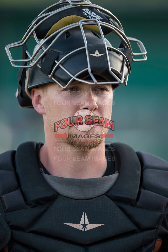 Modesto Nuts catcher Tyler Baker (17) before a California League game against the Lake Elsinore Storm at John Thurman Field on May 11, 2018 in Modesto, California. Modesto defeated Lake Elsinore 3-1. (Zachary Lucy/Four Seam Images)