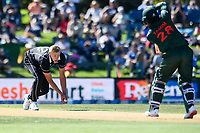 23rd March 2021; Christchurch, New Zealand;  Kyle Jamieson of the Black Caps fields the ball off Tamim Iqbal of Bangladesh during the 2nd ODI cricket match, Black Caps versus Bangladesh, Hagley Oval, Christchurch, New Zealand.