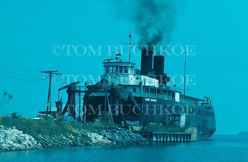 Car Ferry Chief Wawatam is docked in Mackinac City, Michigan on Lake Huron.