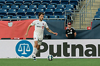 FOXBOROUGH, MA - JULY 9: Luca Petrasso #38 of Toronto FC II looks to pass during a game between Toronto FC II and New England Revolution II at Gillette Stadium on July 9, 2021 in Foxborough, Massachusetts.
