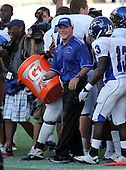 Armwood Hawks head coach Sean Callahan after getting the water dumped over his head during the fourth quarter of the Florida High School Athletic Association 6A Championship Game at Florida's Citrus Bowl on December 17, 2011 in Orlando, Florida.  Armwood defeated Miami Central 40-31.  (Photo By Mike Janes Photography)