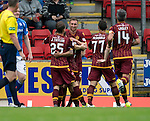 St Johnstone v Motherwell...22.08.15  SPFL   McDiarmid Park, Perth<br /> Louis Moult celebrates his goal<br /> Picture by Graeme Hart.<br /> Copyright Perthshire Picture Agency<br /> Tel: 01738 623350  Mobile: 07990 594431