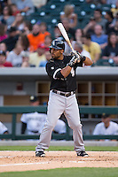 Micah Johnson (7) of the Chicago White Sox at bat against the Charlotte Knights at BB&T Ballpark on April 3, 2015 in Charlotte, North Carolina.  The Knights defeated the White Sox 10-2.  (Brian Westerholt/Four Seam Images)