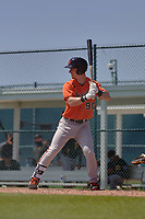 Baltimore Orioles Patrick Dorrian (90) bats during a Minor League Spring Training game against the Pittsburgh Pirates on April 21, 2021 at Pirate City in Bradenton, Florida.  (Mike Janes/Four Seam Images)