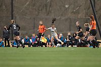 LOUISVILLE, KY - MARCH 13: Stefany Ferrer-vanGinkel #21 of West Virginia University moves the ball up the field during a game between West Virginia University and Racing Louisville FC at Thurman Hutchins Park on March 13, 2021 in Louisville, Kentucky.