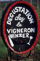 Europe/France/Alsace/68/Haut-Rhin/Env de Riquewihr : Enseigne de vigneron dans une vigne