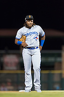 Surprise Saguaros third baseman Vladimir Guerrero Jr. (27), of the Toronto Blue Jays organization, during an Arizona Fall League game against the Scottsdale Scorpions at Scottsdale Stadium on October 15, 2018 in Scottsdale, Arizona. Surprise defeated Scottsdale 2-0. (Zachary Lucy/Four Seam Images)