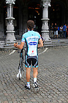 Omega Pharma-Quick Step Sylvain Chavanel (FRA) wheels his bike away after the Team Presentation Ceremony before the 2012 Tour de France in front of The Palais Provincial, Place Saint-Lambert, Liege, Belgium. 28th June 2012.<br /> (Photo by Eoin Clarke/NEWSFILE)