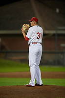Auburn Doubledays relief pitcher Gabe Klobosits (31) looks in for the sign during a game against the State College Spikes on August 21, 2017 at Falcon Park in Auburn, New York.  Auburn defeated State College 6-1.  (Mike Janes/Four Seam Images)