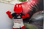 The HSBC Hong Kong Rugby Team Mascot records its good luck message at the video booth at the Sevens Village during the HSBC Hong Kong Rugby Sevens 2016 on 07 April 2016 at Hong Kong Stadium in Hong Kong, China. Photo by Kitmin Lee / Power Sport Images