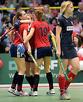 GER - Luebeck, Germany, February 06: During the 1. Bundesliga Damen indoor hockey semi final match at the Final 4 between Berliner HC (blue) and Duesseldorfer HC (red) on February 6, 2016 at Hansehalle Luebeck in Luebeck, Germany. Final score 1-3 (HT 0-1). (Photo by Dirk Markgraf / www.265-images.com) *** Local caption *** Elisa Graeve #26 of Duesseldorfer HC (l)