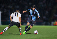 Joe Jacobson of Wycombe Wanderers goes around Alex Kacaniklic of Fulham during the Capital One Cup match between Wycombe Wanderers and Fulham at Adams Park, High Wycombe, England on 11 August 2015. Photo by Andy Rowland.