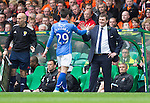 St Johnstone v Dundee United....17.05.14   William Hill Scottish Cup Final<br /> Tommy Wright congratulates Michael O'Halloran as he is subbed<br /> Picture by Graeme Hart.<br /> Copyright Perthshire Picture Agency<br /> Tel: 01738 623350  Mobile: 07990 594431