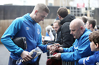Everton's Jordan Pickford stops to sign autographs for the waiting fans as he arrives at Turf Moor ahead of kick-off,  <br /> <br /> Photographer Rich Linley/CameraSport<br /> <br /> The Premier League - Burnley v Everton - Wednesday 26th December 2018 - Turf Moor - Burnley<br /> <br /> World Copyright © 2018 CameraSport. All rights reserved. 43 Linden Ave. Countesthorpe. Leicester. England. LE8 5PG - Tel: +44 (0) 116 277 4147 - admin@camerasport.com - www.camerasport.com