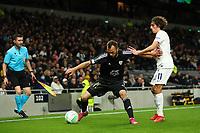 30th September 2021; Tottenham Hotspur Stadium. Tottenham, London, England; UEFA Conference League football, Tottenham v NS Mura: Ziga Kous of NS Mura under pressure from Bryan Gil of Tottenham Hotspur