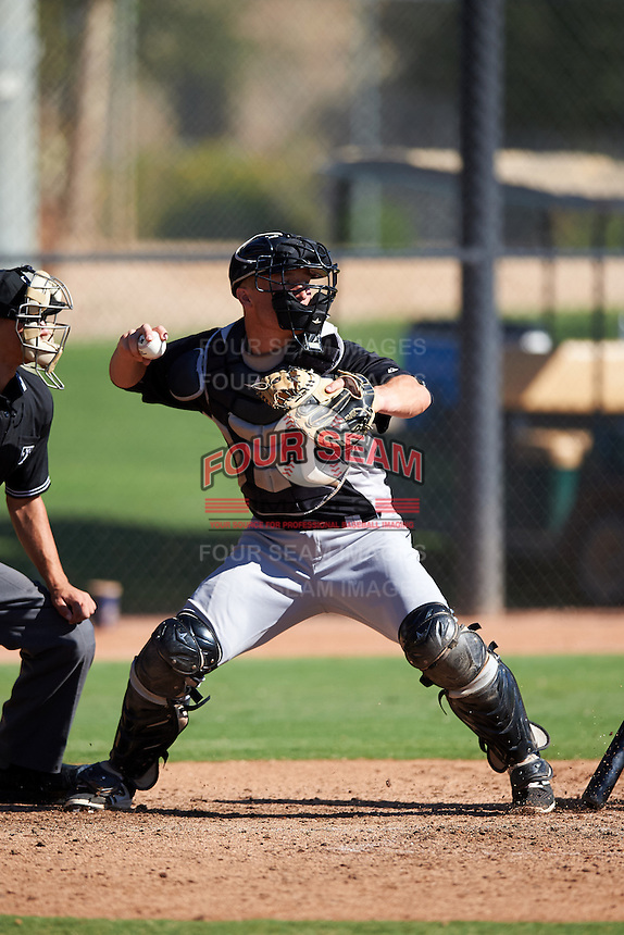 Chicago White Sox catcher Nathaniel Nolan (28) during an Instructional League game against the Los Angeles Dodgers on October 15, 2016 at the Camelback Ranch Complex in Glendale, Arizona.  (Mike Janes/Four Seam Images)