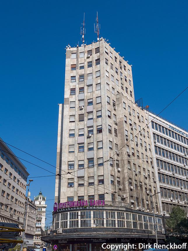 Hochhaus Albania am Terazije Platz, Belgrad, Serbien, Europa<br /> Skyscraper Albanaia at Terazije square, Belgrade, Serbia, Europe