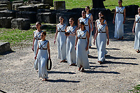 12th March 2020, Olympia, Greece;  Actresses are seen with the Olypmic Flame during the flame lighting ceremony for Tokyo 2020 Olympic Games