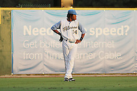 Myrtle Beach Pelicans outfielder Chris Grayson #14 in left field during a game against the Lynchburg Hillcats at Ticketreturn.com Field at Pelicans Park on September 1, 2012 in Myrtle Beach, South Carolina. Myrtle Beach defeated Lynchburg by the score of 3-2. (Robert Gurganus/Four Seam Images)