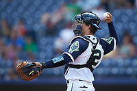 Gwinnett Stripers catcher John Ryan Murphy (12) on defense against the Scranton/Wilkes-Barre RailRiders at Coolray Field on August 18, 2019 in Lawrenceville, Georgia. The RailRiders defeated the Stripers 9-3. (Brian Westerholt/Four Seam Images)