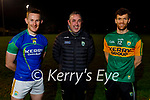 Bryan Murphy (left) captain, Fintan O'Connor (Manager) and Colm Harty, vice captain of the Kerry Senior hurlers