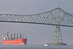Astoria, Oregon, Columbia River, Oregon State, Pacific Northwest, United States, North America, cargo ship, heading up river, Astoria Bridge, Oregon Coast,