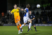 Stephen McGinn of Wycombe Wanderers wins the ball in the air during the Johnstone's Paint Trophy match between Bristol Rovers and Wycombe Wanderers at the Memorial Stadium, Bristol, England on 6 October 2015. Photo by Andy Rowland.