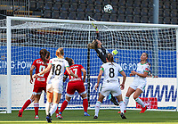 goalkeeper Hillary Damman (1) of Standard does a save during a female soccer game between Oud Heverlee Leuven and Standard Femina de Liege on the third matchday of the 2021 - 2022 season of Belgian Womens Super League , Sunday 5 th of September 2021  in Leuven , Belgium . PHOTO SPORTPIX.BE | SEVIL OKTEM