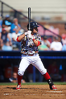 Reading Fightin Phils third baseman Carlos Alonso (17) at bat during a game against the New Hampshire Fisher Cats on June 6, 2016 at FirstEnergy Stadium in Reading, Pennsylvania.  Reading defeated New Hampshire 2-1.  (Mike Janes/Four Seam Images)